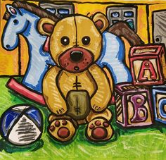 Painting of a Teddy Bear with blue Rocking horse, ball and toy blocks. Buy Paintings, Painting Prints, Childrens Wall Art, Bathroom Wall Art, Art For Sale, Art Inspo, Art Pieces, Digital Art, Art Gallery