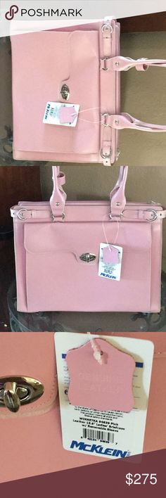 BEAUTIFUL PINK McKlein BRIEFCASE 💼 MOBILE BAG LEATHER /MOBILE BAG LOTS OF COMPARTMENTS AND ROOM FOR EVERYTHING Bags Laptop Bags