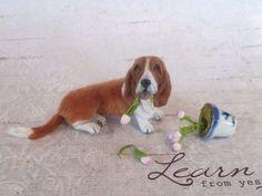 Dollhouse Miniature Dog ~ Basset Hound ~ 1:12 Handmade by Igma Artisan JParrott