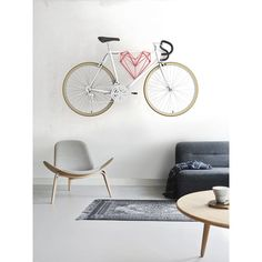 A Heart-Shaped Bike Hanger Designed For Bike. Bike Hanger, Bike Accessories, Heart Shapes, Table, Sport Bikes, Furniture, Interior Design, Home Decor, Red