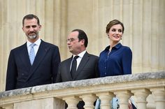 LR King Felipe of Spain French President Francois Hollande and Queen Letizia of Spain arrive to attend the Velasquez painting exhibition at the Grand...