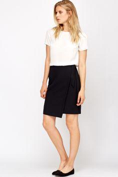 High Waist Asymmetric Belted Skirt