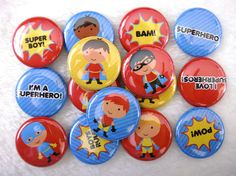 15 Superhero Boys Pinback Buttons - Cute Party Favors - 1 inch 25mm - Superhero Party Supplies. $6.50, via Etsy.