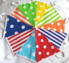 Handmade Candy Fabric Bunting 10FT Polkas & Stripes -Buy 2 Get 1 Free- FREEPOST | eBay