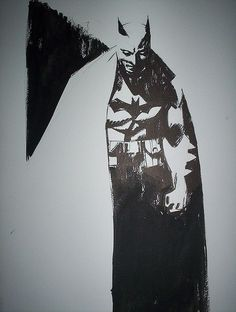by Alex Maleev batman. I make a lot of inks with high contrast like this. I love that there is no Definition in the cape. I make a lot of inks with high contrast like this. I love that there is no Definition in the cape. Heroes Dc Comics, Bd Comics, Comic Book Heroes, Marvel Dc Comics, Comic Books Art, Marvel Avengers, Batman Painting, Batman Artwork, I Am Batman