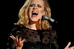 Adele performing on stage