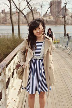 JennifHsieh | Blue striped dress, Trench coat, Chambray Shirt #ootd #wiwt