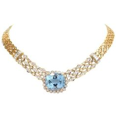 Preowned 1960s Cushion Aquamarine Diamond Gold Choker Necklace ($9,450) ❤ liked on Polyvore featuring jewelry, necklaces, drop necklaces, multiple, round diamond necklace, gold choker, diamond choker necklaces, vintage choker necklace and aquamarine necklace