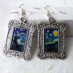 "Vincent Van Gogh ""Starry Night"" Earrings Frame Tibetan Silver Plated"