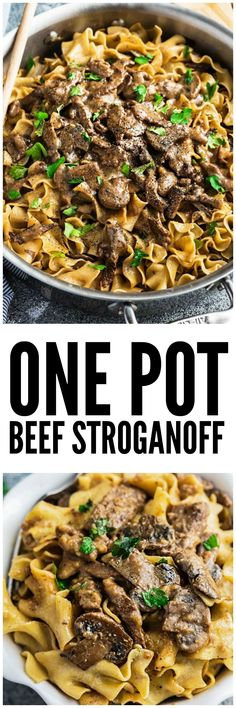 One Pot Beef Stroganoff - all the delicious flavors you love about this classic comfort food made easier in just ONE pan! Strips of tender beef, soft egg noodles coated in a creamy mushroom sauce and perfect for busy weeknights! #beeffoodrecipes