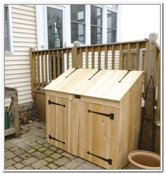 Outdoor Trash Can Storage Cabinet