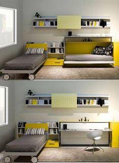 Secreto deco: ahorrar espacio con camas plegables - Mundo Club House - Los Andes... #ahorrar #camas #espacio #house #mundo #plegables #secreto