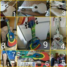 #gitar #papiermaché #knutselen Gitaar van papier maché samen met Nancy teirlinck