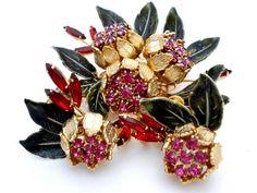 Vintage Rhinestone Set Vendome Brooch Earrings Enamel Flower High End Demi Prong | eBay