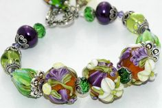 3 FOCAL AS ONE..............................Dragonfly Bracelet Lampwork Beads Floral by shalayneoriginals, $89.00