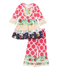 Look at this Ruffles by Tutu AND Lulu Hot Pink & Green Ruffle Dress & Pants - Toddler & Girls on #zulily today!