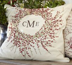 Berry Wreath Embroidered Pillow Cover with Monogram