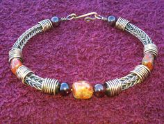 Mens Copper Viking Knit Bracelet - Patina with Jasper Nuggets - Garnet