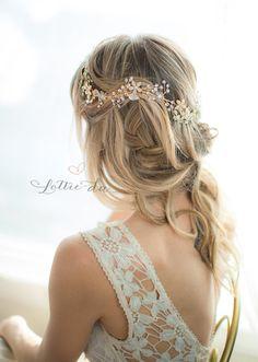 Oro Boho largo pelo vid flor boda casco corona por LottieDaDesigns