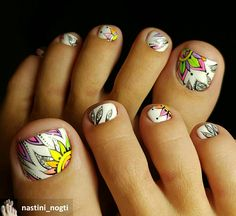 Toenail Art Designs, Nail Tip Designs, Pedicure Designs, Pedicure Nail Art, Colorful Nail Designs, Toe Nail Art, Cute Toe Nails, Fancy Nails, Pretty Nails