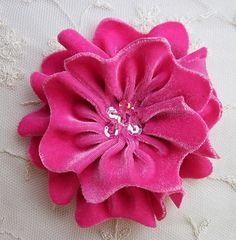 HOT PINK Velvet Ribbon Rose Fabric Sequin Beaded Flower Christmas Applique Hat Corsage Pin Baby Pageant Bridal Hair Accessory Applique on Etsy, $4.25