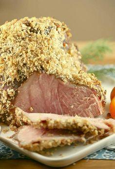 Horseradish Panko Crusted Ham with Horseradish Mustard Sauce Low Calorie Low Fat Dinner