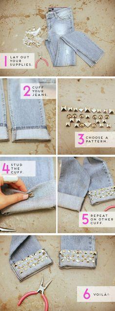 DIY Studded Jeans Via