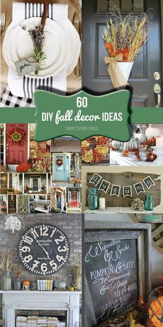 Home Decoration Ideas ~ 60 DIY fall decor ideas! So many great ideas for decorating your home in the fall. Fall Crafts, Holiday Crafts, Holiday Fun, Diy Crafts, Christmas Gifts, Decor Crafts, Casa Halloween, Autumn Decorating, Decorating Ideas