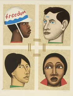 Elizabeth Catlett, Freedom, 1998, color lithograph