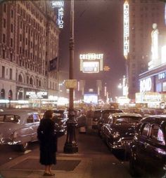 Street scene of New York 1950s Michael Donovan
