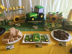 Fantastic dessert table at a John Deere birthday party! See more party ideas at CatchMyParty.com!