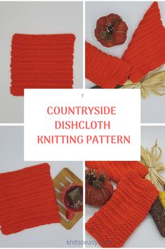 Countryside dishcloth knitting pattern features clean lines produced by alternating garter stitch and stockinette stitch rows.  A very quick Knitted Washcloths, Knitted Hats, Dishcloth Knitting Patterns, Crochet Patterns, Crochet Cross, Knit Crochet, Yarn For Sale, Stockinette, Knitting For Beginners