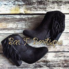 Miranda Fringe Booties ~ Black