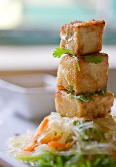 Tofu Tower...Soy-Honey Marinated Tofu deep-fried in fresh Coconut Oil