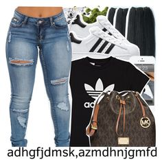 """🍃You see who fvck with you and who love you when you doing time🍃"" by babygirl-10 ❤ liked on Polyvore featuring &K, adidas, adidas Originals and MICHAEL Michael Kors"