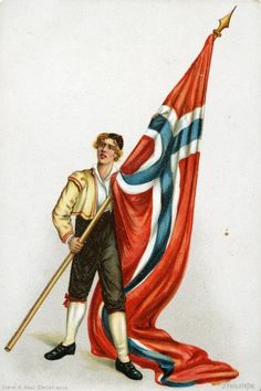 "Unionsflagget ""sildesalaten"" tegnet av J FAHLSTRÖM utg Abels forlag Constitution Day, Scandinavian Art, Old Postcards, Old And New, Norway, Painting, Vintage, Sun"