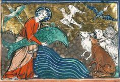 God with a big fish, Bible historiale, Paris ca. 1320-1337 (Paris, Bibliothèque Sainte-Geneviève, ms. 20, fol. 5v)