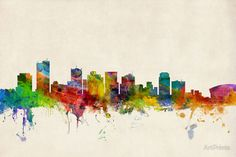 Great Big Canvas 'Phoenix Arizona Skyline' by Michael Tompsett Graphic Art Print Format: White Frame, Size: H x W x D Skyline Painting, Cityscape Art, Skyline Art, Watercolor Artwork, Watercolor Bird, Painting Prints, Wall Art Prints, Canvas Prints, Phoenix Arizona