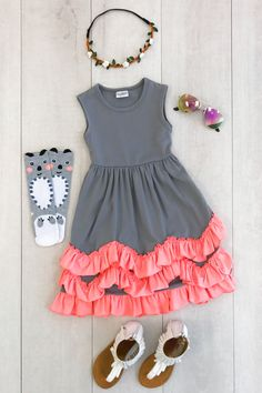 Gray Tank Dress with Coral Ruffles from Sparkle in Pink Cute Baby Girl Outfits, Toddler Girl Outfits, Little Girl Dresses, Kids Outfits, Cute Outfits, Toddler Girls, Little Girl Fashion, Kids Fashion, Toddler Fashion