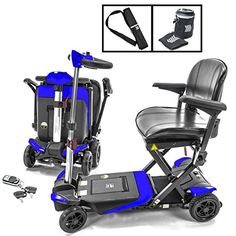 Transformer Automatic Foldable Lithium Powered Travel Scooter BLUE  Cane  Cup Holder *** Details on product can be viewed by clicking the image