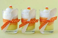 Banana,  Butterscotch and Whipped Cream Candy Corn Pudding