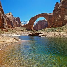 Rainbow Bridge, a natural stone arch, near Lake Powell, Glen Canyon National Recreation Area, Utah and Arizona. Photo by James Cowlin