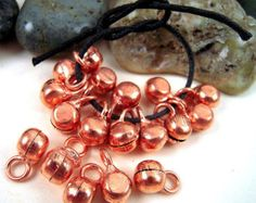 70 Tiny Copper FINISH Bells, 0.7 Ounce, Bright Copper India Bells, Tribal Belly Dance, Gypsy Bells, Boho Bells, Copper Tribal Bells, QQL01