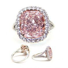 1.00 CARAT CUSHION CUT GIA FANCY ORANGEY PINK DIAMOND ENGAGEMENT/ANNIVERSARY RING PLATINUM 950  Unique Engagement Rings