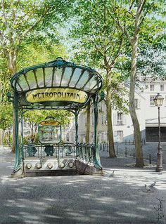 """Mise en abyme des Abbesses"" By Thierry Duval, from Paris - original watercolor; 37 x 27 cm; Watercolor City, Watercolor Artists, Watercolor Landscape, Watercolor Japan, Watercolour Techniques, Watercolor Architecture, Watercolour Paintings, Michel Delacroix, Fabrice Moireau"