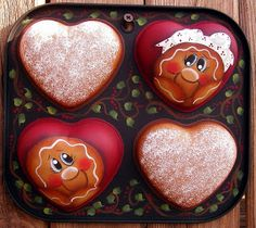 Gingerbread Handpainted Heart Muffin Tin Boy by PaintingByEileen Gingerbread Decorations, Christmas Gingerbread, Diy Christmas Gifts, Christmas Ideas, Gingerbread Ornaments, Gingerbread Houses, Holiday Crafts, The Night Before Christmas, Christmas Holidays