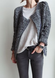 Classic white tee and charcoal skinnies elevated by a knit sweater