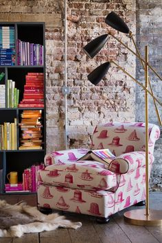 Colorful home library design