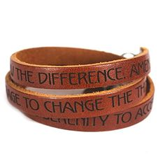 Serenity Prayer Designer Leather Wrap Bracelet  Brown -- Check this awesome product by going to the link at the image.