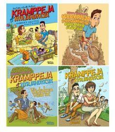 We publish comics like Läskimooses and Hanneriina Moisseinen's books. Christmas Gifts, Comic Books, Gift Ideas, Comics, Cover, Christmas Presents, Xmas Gifts, Comic Book, Blanket